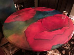 Hand painted poppy table