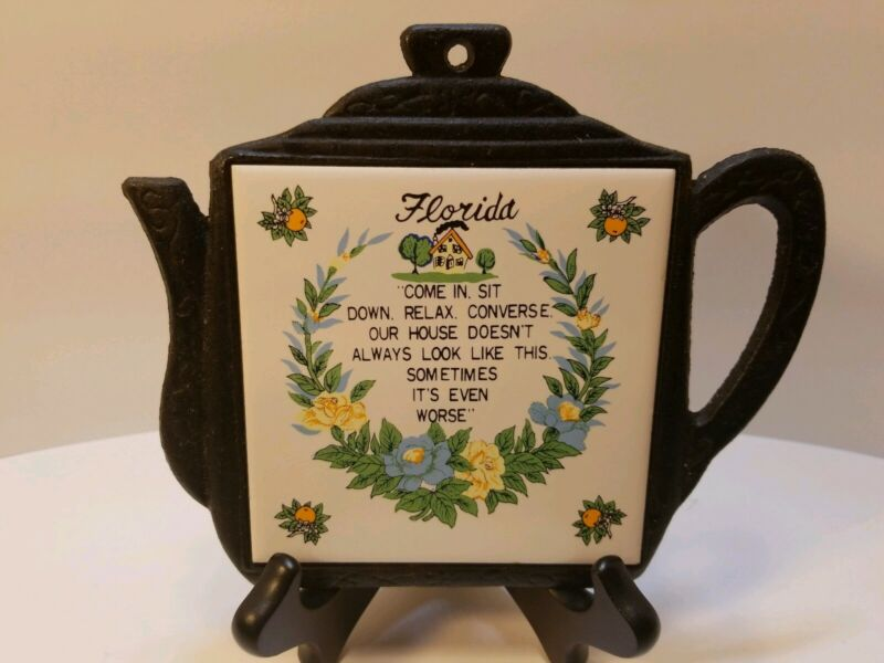 Vintage~Florida Teapot Orange Blossoms Cast Iron/Tile Trivet