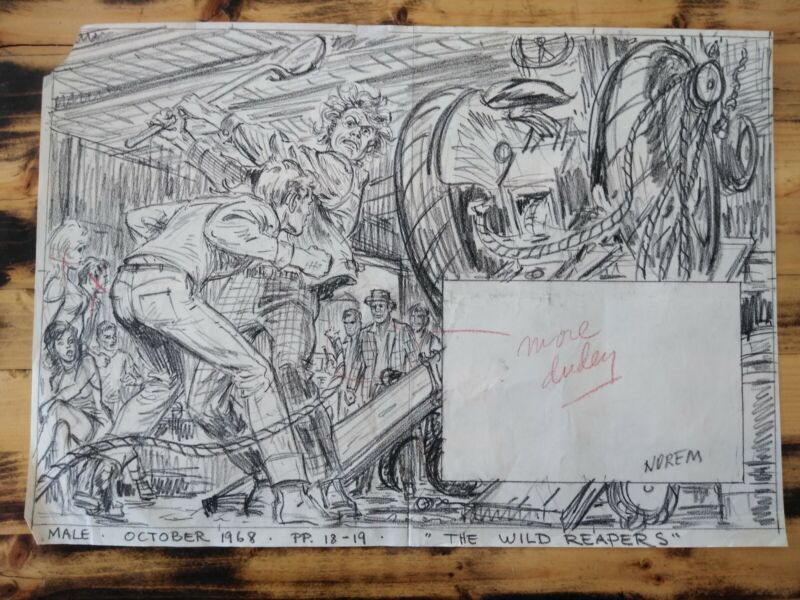 EARL NOREM ORIGINAL PENCIL ON PAPER 1968 12 X 24IN LISTED ARTIST EX CONDITION