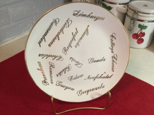 """VTG CARDINAL CHINA COMPANY 22Kt IVORY WHITE 9 1/4"""" SCRIPT CHEESE FLAVOR PLATE"""