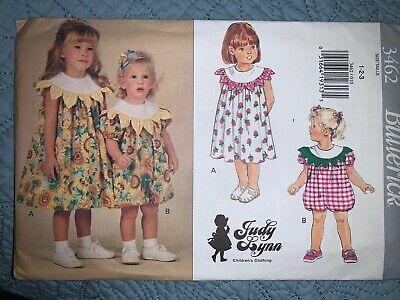 Butterick 3462 Judy Lynn Toddler Sewing Pattern Dress Romper A-Line Size 1 2 3 Toddler Line Dress Pattern