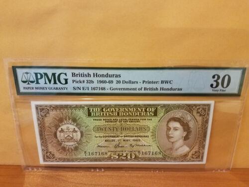 British honduras 1965 $20 PMG 30 rare date undergraded