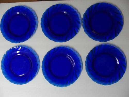 Duralex Rivage Cobalt Blue Glass Salad Plates Swirl Set of 6
