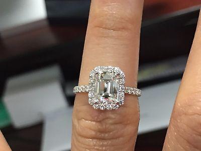 1.45 Ct Halo Emerald Cut Diamond Engagement Ring U-Set Round Accents E,VS2 GIA 1
