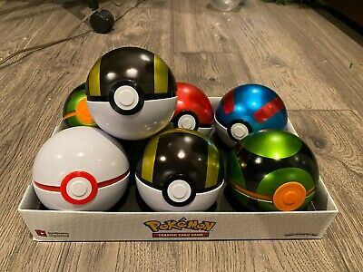 Pokemon POKEBALL TIN (EMPTY) LOT OF 7 ASSORTED W/ COINS & CASE - Cosplay/Costume