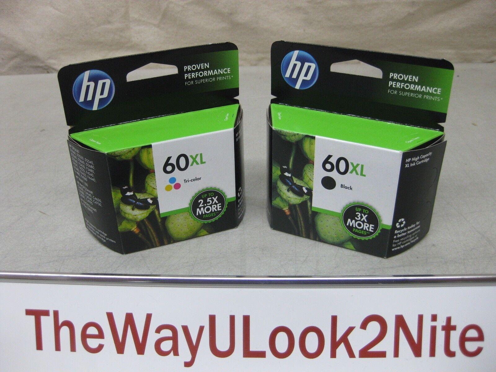 HP 60xl Set Black Ink Cc641wn Tri Color Cc644wn Genuine M...