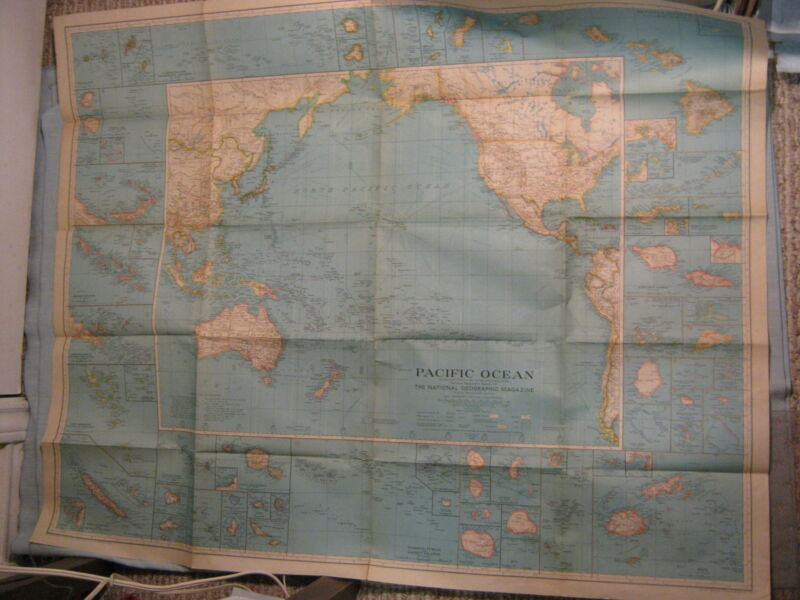 ANTIQUE PACIFIC OCEAN MAP National Geographic December 1936