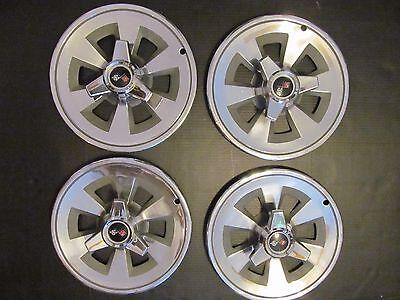 """Vtg '65 Chev Corvette Spinner Hub Caps Wheel Covers 15"""" Set of 4"""