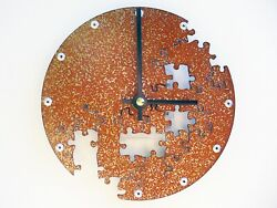 Small Wall Clock / Jigsaw Puzzle Piece V / Custom Unique Modern / Steel Circle