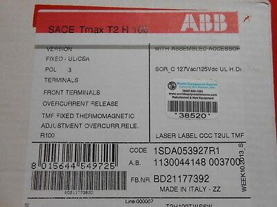 Abb T2h100tw S6w Sace Tmax 100 Amp Circuit Breaker - New In Box