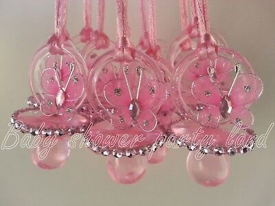 12 Pink Butterfly Pacifier Necklaces Baby Shower Game Girl Favor Prize Recuerdos