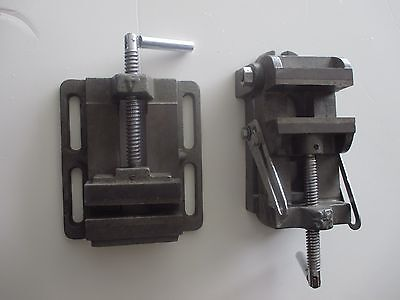 Set Of 2 Vtg Machinist Iron Vise Clamps Vises Pair Number 3 Angle Number 4 Flat