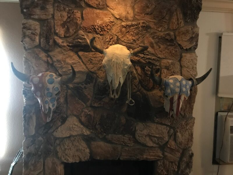 Western Americana 3 Navajo Painted Bull Skulls From Tucson Estate