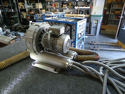 2008 Becker Sv 8.1901-01 3 Phase Industrial Vacuum Pump Blower W Hoses