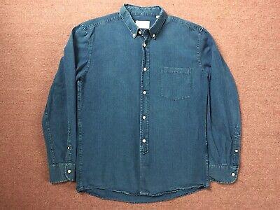 1940s Men's Shirts, Sweaters, Vests Our Legacy 1940s Button Down Shirt XL 52 EVERYMAN INDIGO BLUE CHAMBRAY 1980 -81 $48.00 AT vintagedancer.com