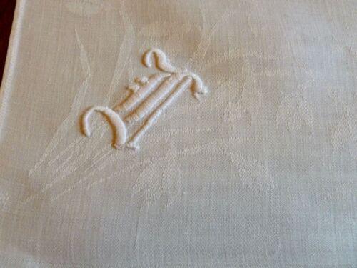 """6 Huge Antique Linen Damask Napkins Art Deco Monogram F or D 26"""""""