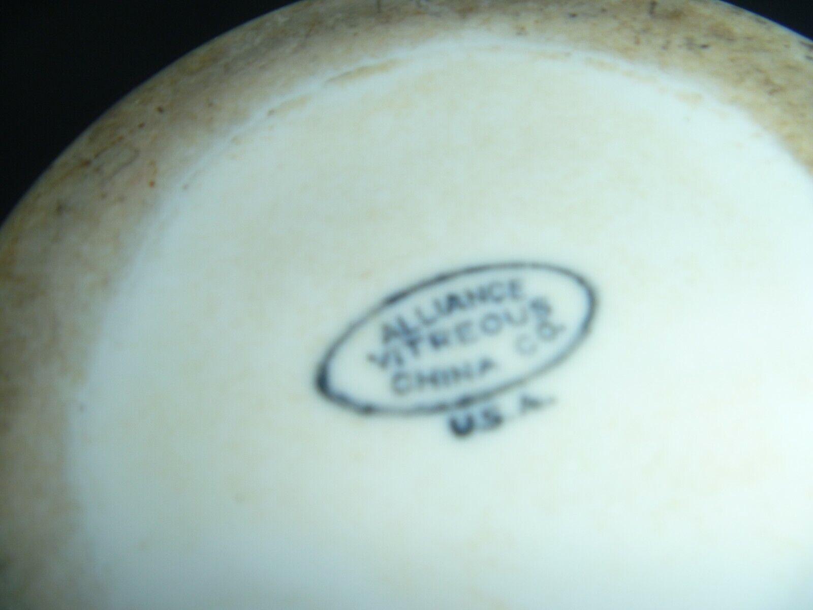 VINTAGE - ALLIANCE CHINA CO. - ALLIANCE, OH - VITREOUS WHITE SHAVING MUG - RARE - $1.99
