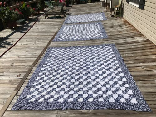 RARE FIND ! 3 Vintage Blue and White Bow Tie Quilt TOPS Matching TOP