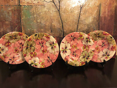 4 NEW Tabletops Unlimited Lifestyle Pansy Blossom Pink Flower Salad Plates Mint