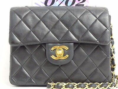 s8244 Auth CHANEL Black Lambskin Leather CC Logo Mini Chain Shoulder Bag GHW