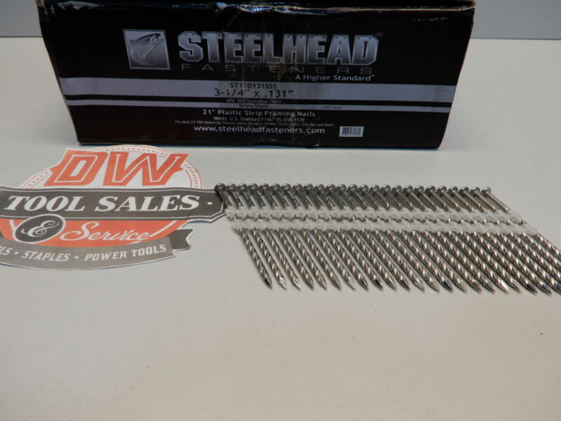 """STAINLESS STEEL12d 3 1/4"""" Screw Shank Full Round Head Nails 21 Degree (2,000)"""