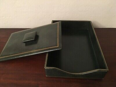 Executive Desk Leather Letter Tray And Leather Lid Gold-trimmed Fine Condition
