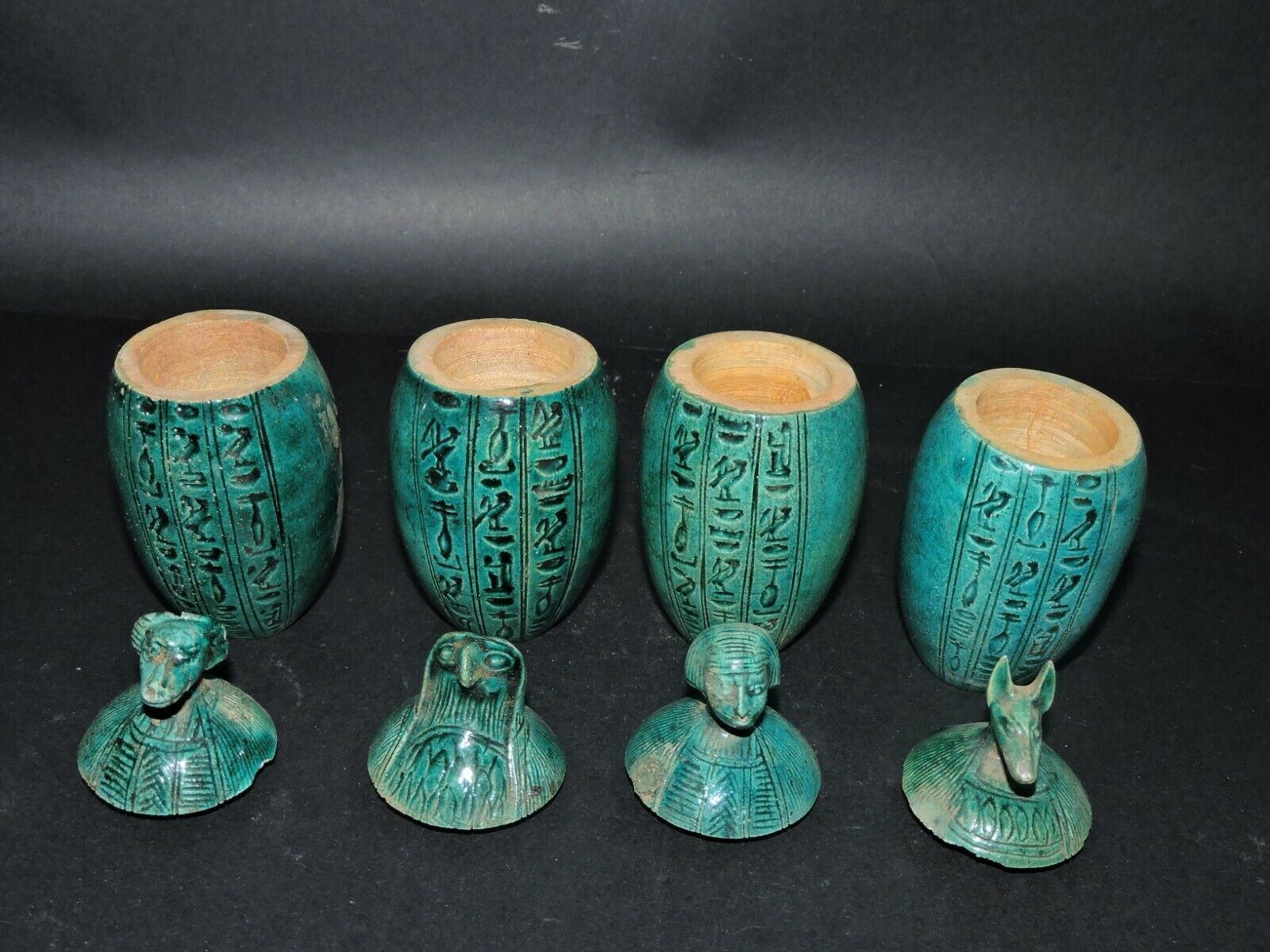 Antique Collection Set Of 4 Egyptian Ancient Canopic Jars Organs Storage Statues - $199.00