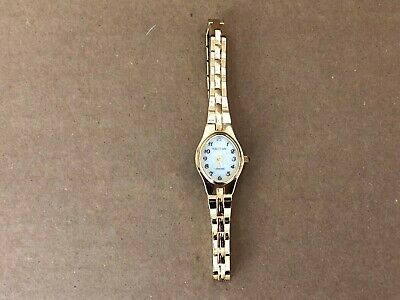 Waltham Diamond Women's Gold Tone Quartz Mother of Pearl 17mm Cocktail Watch