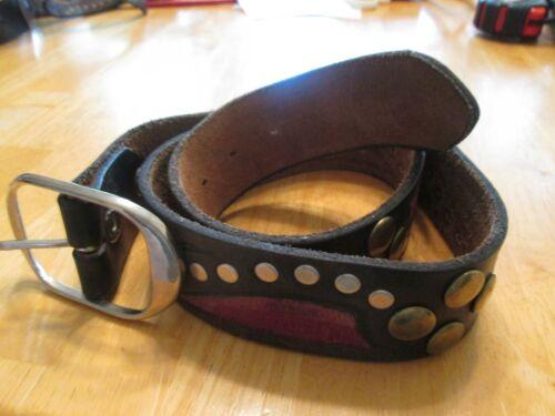 Original Sur Tan Belt Brown Red Leather Metal Buckle & Studs Vintage