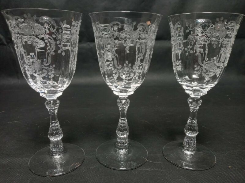 """3 FOSTORIA MEADOW ROSE WATER GLASSES 7.5""""  INCH ETCHED VINTAGE"""