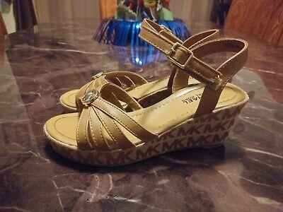 Michael Kors Cordelia Beige Heeled Wedged Sandals Little Kid Size 1.5