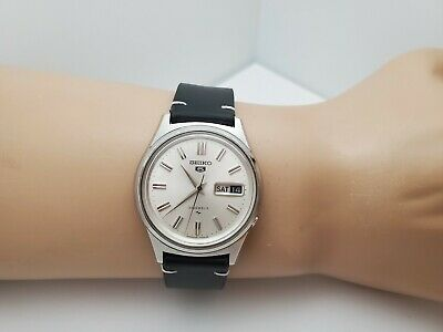Vintage SEIKO 5 5126-7010 men's Automatic watch,23J day date ,Silver dial 1969