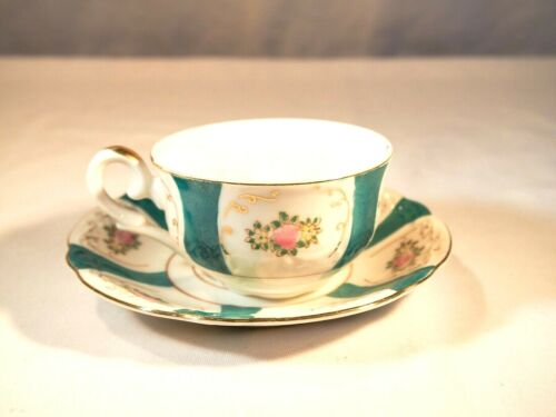 UCaGCo Occupied Japan Floral Matching Green Decorated Teacup & Saucer Porcelain
