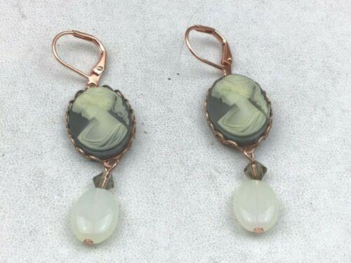Vintage INspired Earrings Gray Cream Cameo Lady Opaline Glass Copper Pierced