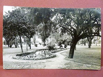 Postcard RPPC TX Mission City Park Lily Pond