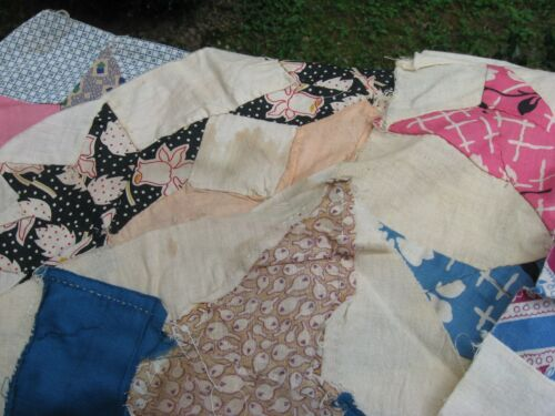 14 Vintage Hand Sewn Patchwork Quilt Blocks, Stars & More