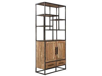 Metall Bücherregal Schrank (Bücherregal 2 Türen Regal Bücherschrank Holz Akazie hell Metall Oklahoma)