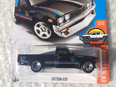 2017 - Hot Wheels DATSUN 620 (Black) Pickup Truck - HW Hot Trucks #7/10 #317/365
