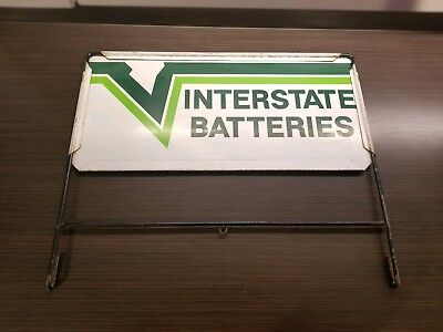 Vtg Interstate Battery Stand Rack Gas Oil Station Sign Store Batteries Display