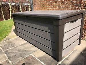 Keter Brushwood Espresso Brown Plastic Garden Storage Box Outdoor Deck Bench