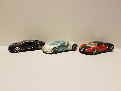 Hot Wheels Bugatti Veyron Black & Red, Mystery white & chiron 1/64 Diecast Loose