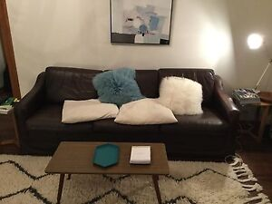 Stunning retro 1970s genuine chocolate brown leather sofa - 3seat Edgecliff Eastern Suburbs Preview