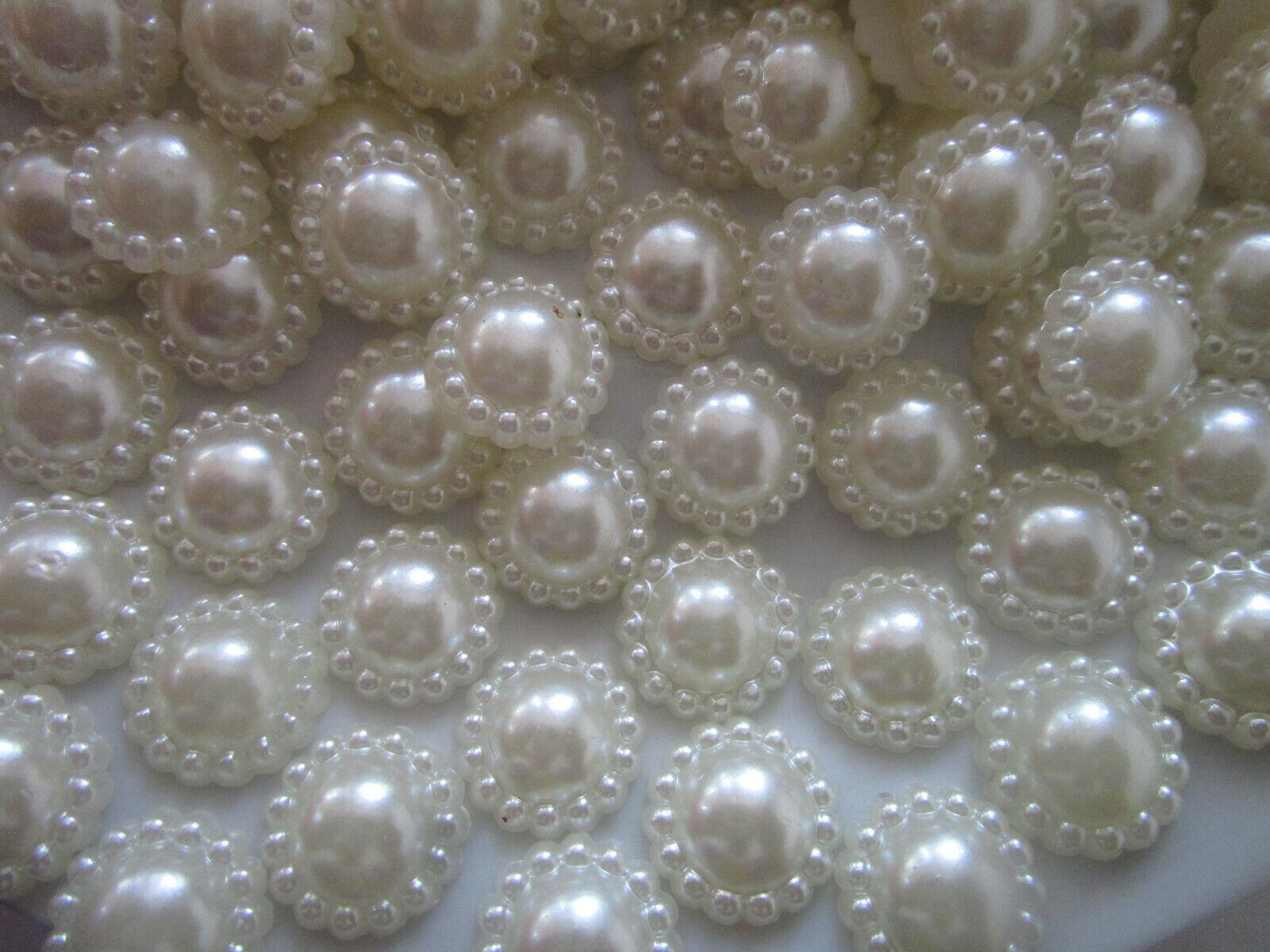 100 Perlen 12mm Elfenbeinweiß Halbperlen rund Dekoperlen Wachsperlen Elegante N