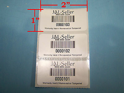 100 2 X 1 White Polyester Custom Printed Asset Tracking Labels Id Tags 2x1