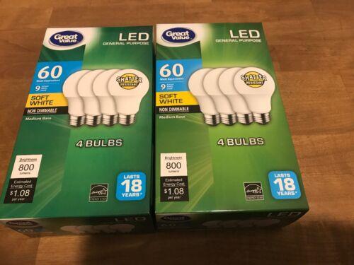 8 PACK LED 60W = 9W Soft White 60 Watt Equiv  A19 2700K E26