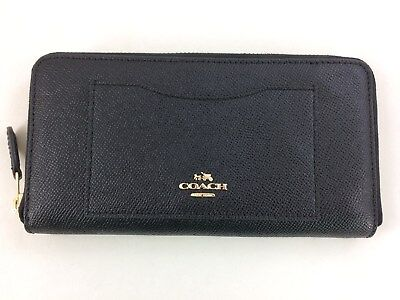 New Authentic Coach F54007 Accordion Leather Zip Around Wallet Black Gold