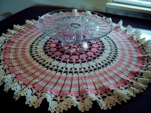 "New Hand Crocheted Peaches & Cream 27"" Centerpiece Doily"