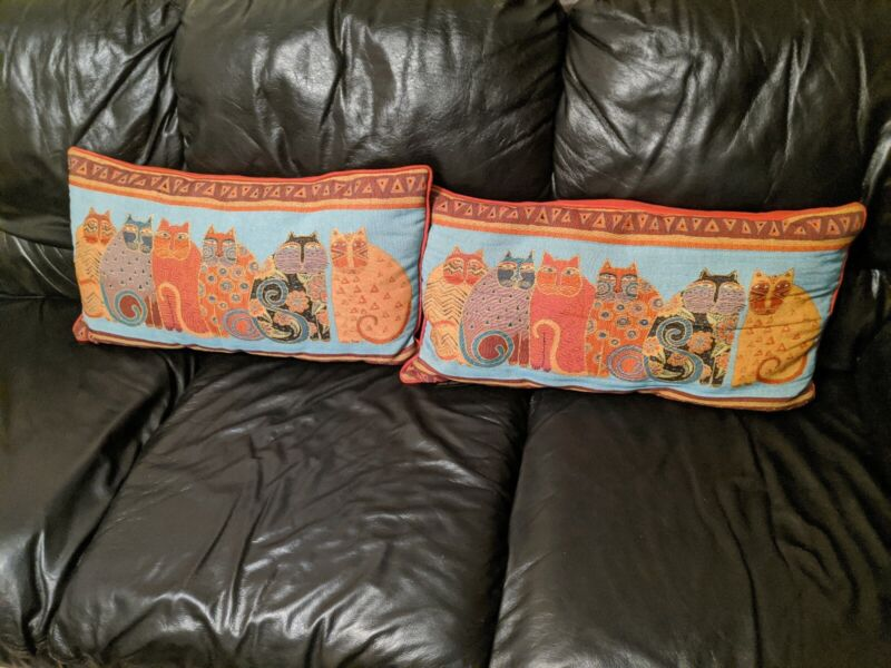 "Laurel Burch 6 Cats Tapestry Pillows 22"" x 12"" Sign Blue Gold Needlepoint Sofa"