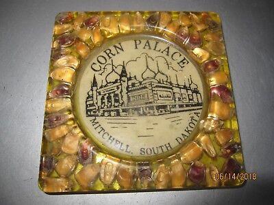 Vintage Corn Palace Mitchell South Dakota plastic coaster w inlaid corn b136