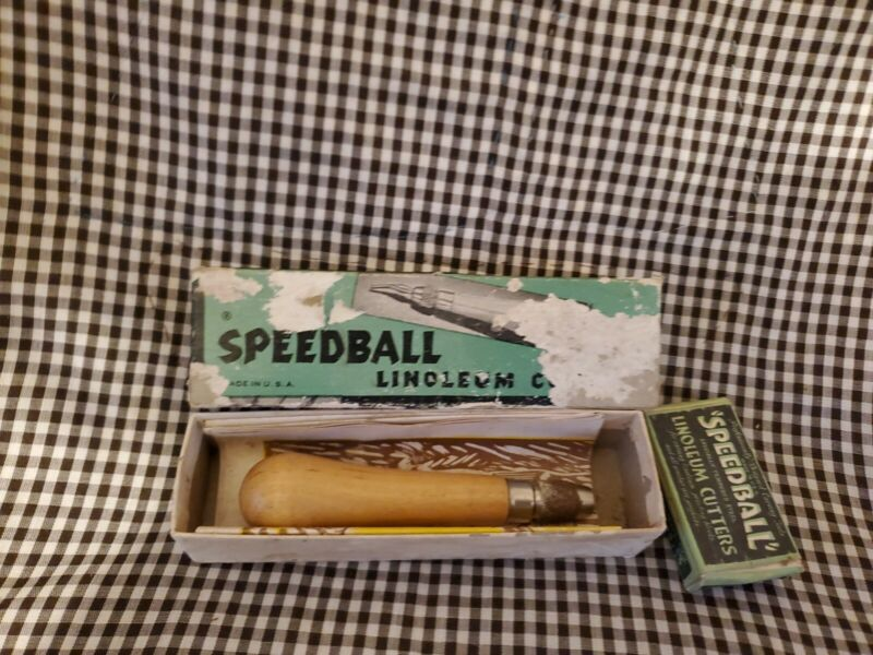 Vintage Speedball Linoleum Cutters Block Cutter #1 In Original Box